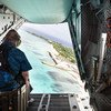 The UN Secretary-General António Guterres overflies the low-lying coastline of Tuvalu in the Pacific Ocean. (17 May 2019)
