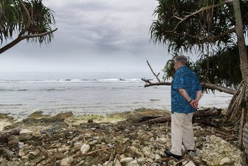 António Guterres na ilha de Tuvalu