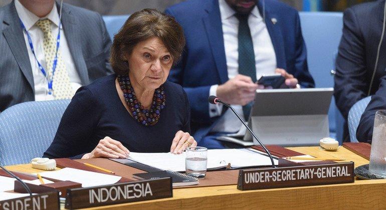 Заместитель Генсека ООН по политическим вопросам и вопросам миростроительства Розмари Дикарло выступила на заседании Совбеза по Сирии.