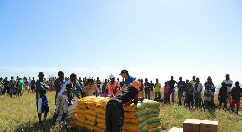 Food distribution by the World Food Program (WFP) in Matemo, one of the Quirimbas Islands, in the province of Cabo Delgado, Mozambique. The region was one of the areas of the country affected by Cyclone Kenneth.