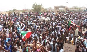Protesters take to streets in the Sudanese capital, Khartoum. 11 April 2019.