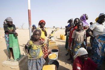 संघर्ष के चलते विस्थापित होने वाले नाइजीरियाई शरणार्थी कैमरून के शिविर के पास पानी की कतार में.