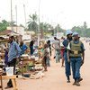 Peacekeepers serving the UN mission  in the Central African Republic (MINUSCA) patrol  the country's capital city, Bangui.