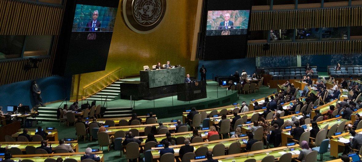 La Asamblea General de la ONU escuchando el discurso del primer ministro de Mauricio, Pravind Kumar Juqnauth.