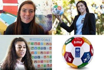 Les joueuses de football Vanessa Gilles (en haut à gauche) du Canada, Marta Vieira da Silva (à droite) du Brésil et Lisa Zimouche (en bas à gauche) de la France et de l'Algérie.