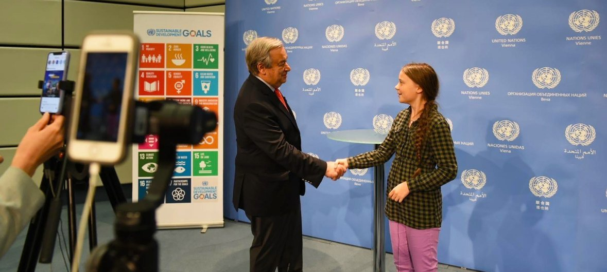 The Swedish teenage climate activist, Greta Thunberg, meets the UN Secretary-General António Guterres at the United Nations in Vienna. (27 May 2019)