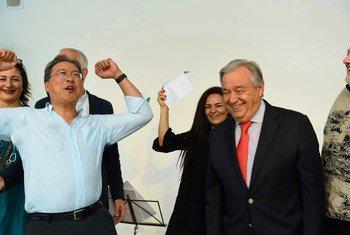 Генеральный секретарь ООН Антониу Гутерриш и виолончелист Йо-Йо Ма на мероприятии в Вене