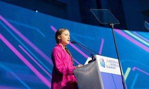 Greta Thunberg, 16 year old climate activist speaking at the R20 Austrian World Summit 2019 on 28 May 2019.