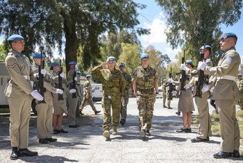 Major General Cheryl Pearce of Australia (centre left) serves as Force Commander of the United Nations Peacekeeping Force in Cyprus (UNFICYP).