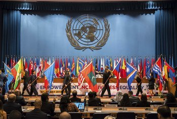 The traditional parade of flags takes place at the opening of the seventy-fifth session of the UN Economic and Social Commission for Asia and the Pacific in Bangkok, Thailand. (29 May 2019)