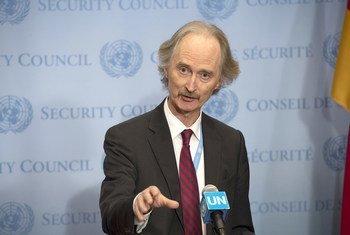 غير بيدرسون، مبعوث الأمين العام الخاص لسوريا، في  مؤتمر صحفي عقده عقب جلسة مجلس الأمن.