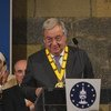 UN Secretary-General António Guterres receives the Charlemagne Prize in Aachen, Germany on 30 May 2019.