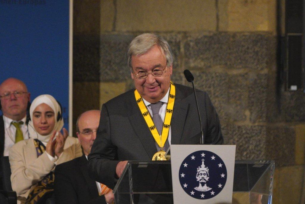2019年5月30日,联合国秘书长古特雷斯于在德国亚琛荣获查理曼奖。