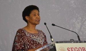 La directora ejecutiva de ONU Mujeres, Phumzile Mlambo-Ngcuka, durante su visita a México para el lanzamiento de la Iniciativa Spotlight para eliminar la violencia contra las mujeres y las niñas.
