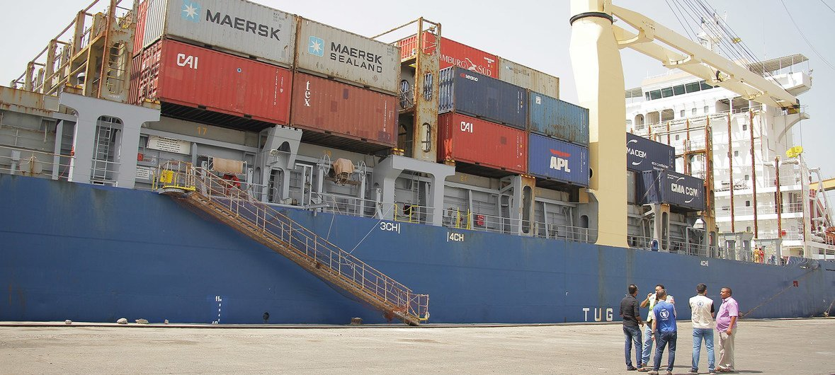 The World Food Programme has delivered aid through Hudaydah port. (February 2019)