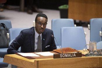 محمد ربيع يوسف نائب المندوب الدائم للصومال في الأمم المتحدة، يتحدث أمام مجلس الأمن الدولي.
