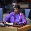 अन्तरराष्ट्रीय आपराधिक न्यायालय (आईसीसी) की अभियोजक फ़तोऊ बेनसूडा, 8 मई, 2019 को लीबिया मुद्दे पर, संयुक्त राष्ट्र सुरक्षा परिषद को सम्बोधित करते हुए.