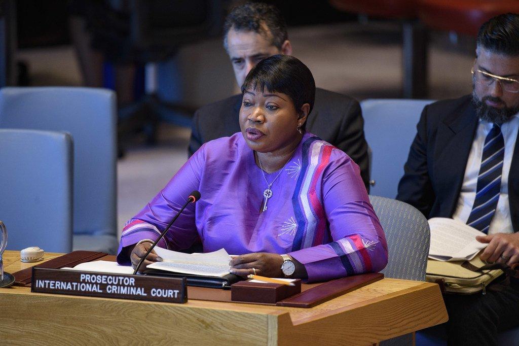 Mwendesha mashitaka wa ICC, Fatou Bensouda akihutubia Baraza la Usalama la Umoja wa Mataifa kuhusu Libya. 8 Mei, 2019.