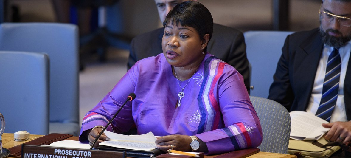 File photo of the Prosecutor of the International Criminal Court (ICC), Fatou Bensouda, briefing the UN Security Council on Libya in May 2019.