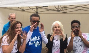 From left to right, Princess Dina Mirad of Jordan, WHO Director General Tedros Adhanom Ghebreyesus, mental health advocate and mother of Lady Gaga Cynthia Germanotta and Nigerian songwriter and singer Korede Bello participated in the 2019 Walk the Talk event in Geneva, Switzerland.