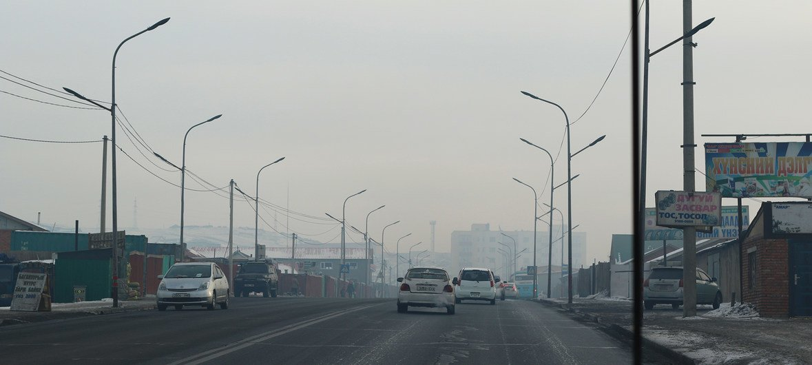 Ulaanbaatar, the capital of Mongolia, suffers from severe air pollution. (January 2018)