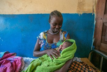 A mother and her new born baby at Karenga Health Centre in Uganda, April 2019.