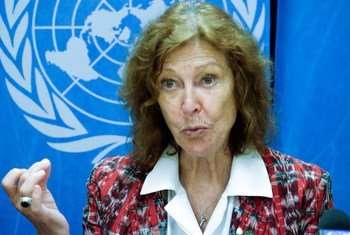 Renate Winter, Vice-Chair of the Committee on the Rights of the Child, at a press conference at UN Geneva.