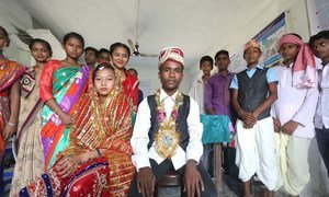 Adolescents in Gujara Municipality of Rautahat District in Nepal perform a skit on child marriage as part of UNFPA-UNICEF Global Programme on Ending Child Marriage.