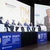 El Secretario General, António Guterres, en la pantalla durante la sesión de inauguración del Foro Económico Internacional de San Petesburgo 2019.