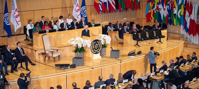 The Italian President Sergio Mattarella addresses the 108th International Labour Conference in Geneva on 10 June 2019.