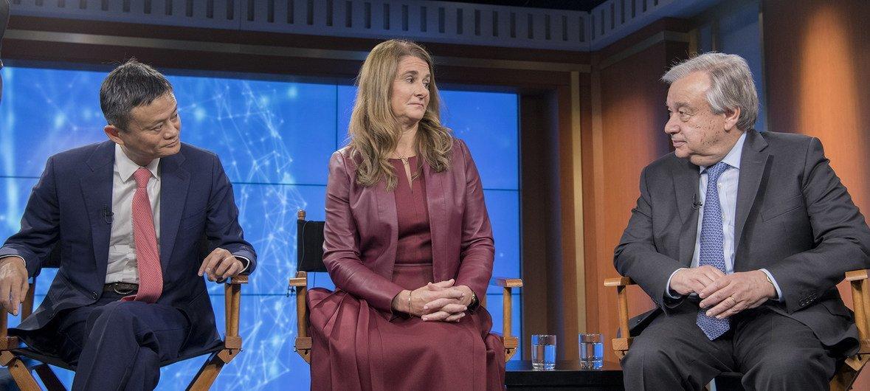 Джек Ма, Мелинда Гейтс и Антониу Гутерриш обсуждают, как использовать цифровые технологии для достижения ЦУР