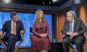 Melinda Gates, Co-Chair of The Bill & Melinda Gates Foundation (c), Jack Ma, Executive Chairman of Alibaba Group (l) and the UN Secretary-General António Guterres (r) discuss how digital cooperation and technology can contribute to achieving the Sustainable Development Goals.