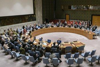 Le Conseil de sécurité des Nations Unies en session le 10 juin 2019 lors du vote d'une résolution sur la Libye.