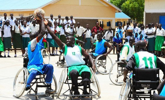 Athletes with disabilities play wheelchair basketball in South Sudan. (file 2012)