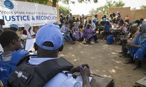 Peacekeepers from the UN mission in Mali, MINUSMA, conduct a justice and reconciliation meeting to help mediate the violence in Mali's central Mopti region.