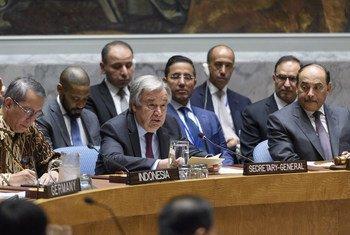 Le Secrétaire général de l'ONU, António Guterres, devant le Conseil de sécurité le 12 juin 2019.