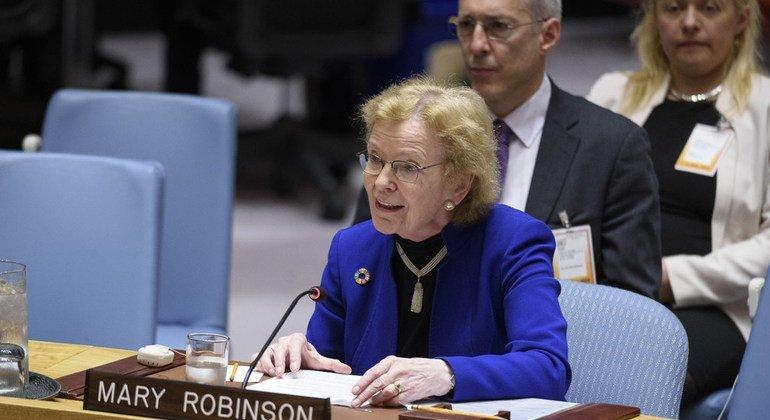 ماري روبنسون، رئيسة لجنة الحكماء تلقي كلمتها أمام جلسة مجلس الأمن حول صون السلم والأمن الدوليين ومنع نشوب الصراعات والوساطة.