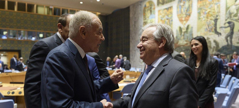 Антониу Гутерриш и Ахмед Абуль Гейт перед заседанием Совета Безопасности