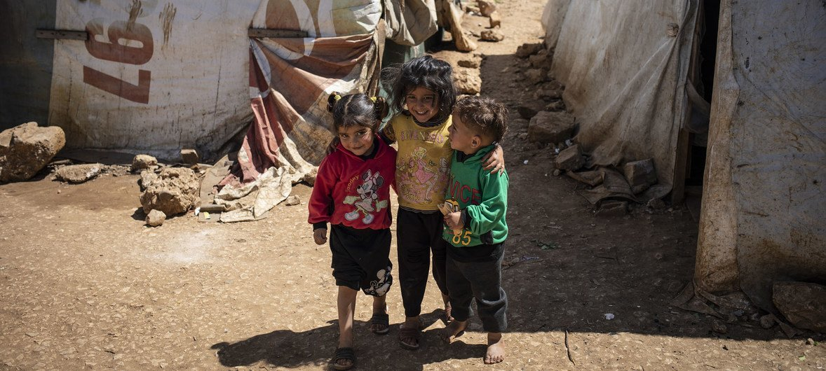 Syrian refugee children are pictured in an informal settlementnearTerbolin theBekaa Valley ofLebanon (April 2019)