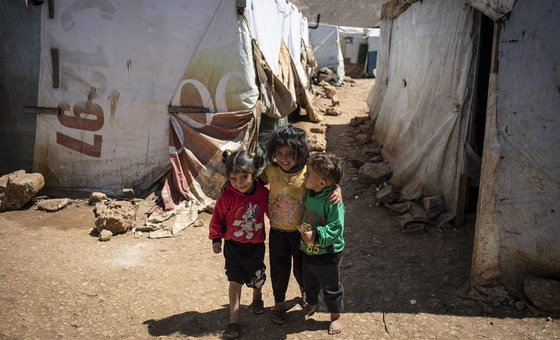 Syrian refugee children are pictured in an informal settlement near Terbol in the Bekaa Valley of Lebanon (April 2019)