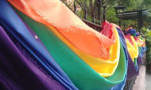 Le Highline Hotel dans le quartier de Chelsea, à New York, drape ses portes des couleurs arc-en-ciel LGBTI