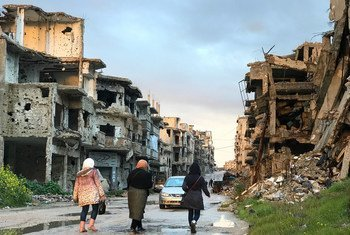 Life is slowly returning to this street in the Juret Al-Shayah district of Homs, Syria. Residents trickling back to the neighbourhoods they fled to escape fighting find desolate and lifeless streets, only half-cleared of rubble and without electricity or water. (4 March 2019)