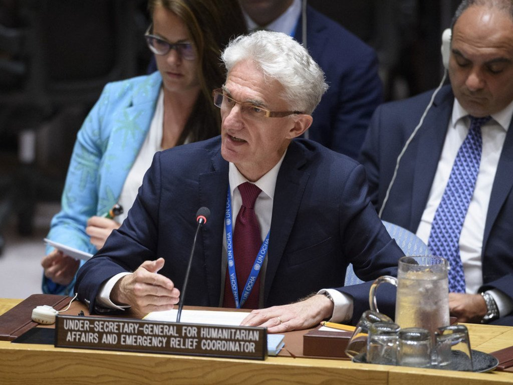 Under-Secretary-General for Humanitarian Affairs and Emergency Relief Coordinator Mark Lowcock briefs the Security Council Considers Situation in Syria, 18 June 2019.