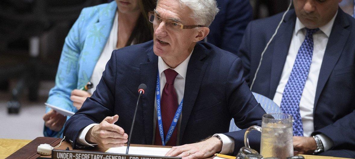 El Secretario General Adjunto de Asuntos Humanitarios y Coordinador del Socorro de Emergencia, Mark Lowcock, informando al Consejo de Seguridad sobre la situación en Siria, 18 de junio de 2019.