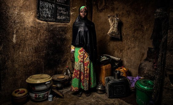 Bintu Mohammed, 13, stands in her home in Banki, in northeast Nigeria. Her village was attacked four years ago and her school was destroyed. (1 May 2019)