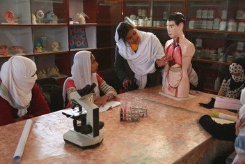 As part of the World Bank's Education Quality Improvement Programme, students study biology at Sofia Amma Jan Girl's School in the Kandahar province of Afghanistan.