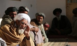 Afghanistan Villagers discuss road construction in Gharaka, Daman district of the Kandahar Province.