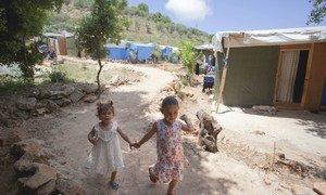 Syrian refugee children in the Ketermaya refugee camp, outside Beirut, Lebanon.