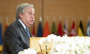 The UN Secretary-General António Guterres speaks during the 108th Session of the International Labour Conference on 21 June 2019.