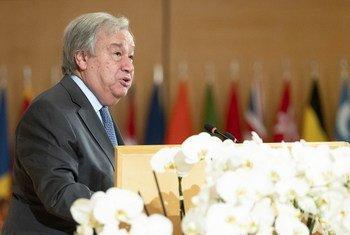 El Secretario General de las Naciones Unidas, António Guterres, durante su discurso en la 108.ª reunión de la Conferencia Internacional del Trabajo, el 21 de junio de 2019.